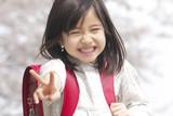桜の下でVサインをする小学生女子