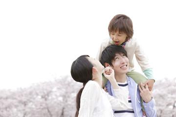 桜の咲く公園で休日を楽しむ家族