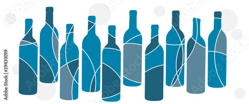 Abstract blue bottle design