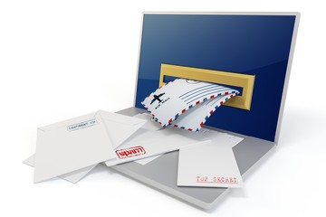 3d laptop with mails
