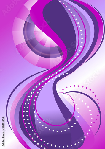 Bands of circles and waves on the background with purple hues