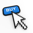 Blue button BUY with arrow cursor.