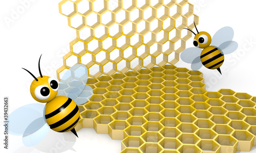 Bee and honeycomb