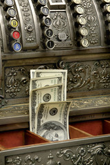 old fiscal cash office with dolars