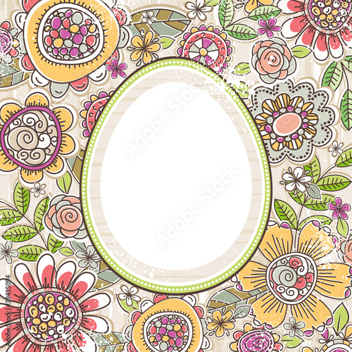 floral background with label with egg shape, vector