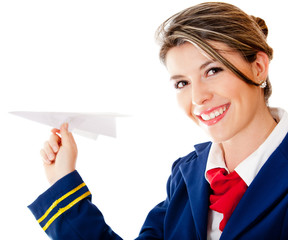 Flight attendant with a paper airplane