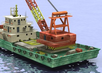 3d render of floating crane