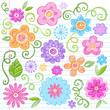 Colorful Flowers Sketchy Doodle Vector Design Elements Set