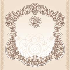 Henna Tattoo Paisley Doodle Frame Vector
