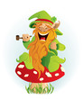 Leprechaun sitting on the mushroom