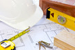 Building plans and tools still life