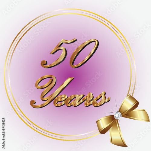 50 Years gold with ribbon