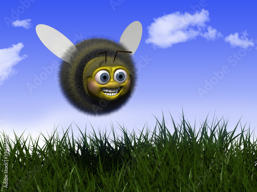 Happy Bee flying in Nature
