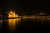 hungarian parliament in budapest at night, hungary