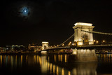 old bridge in budapest at night, hungary