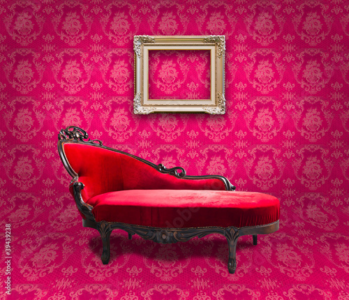 red luxury sofa and frame in pink room
