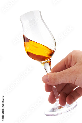 glass of brandy or whisky in the hand