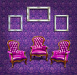 armchair and frame in purple room