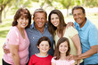 Multi generation Hispanic family in park
