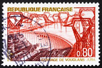 Postage stamp France 1969 Vouglans Dam, Jura