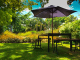 dining table with parasol