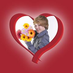 Blumen schenken mit Herz