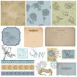 Scrapbook design elements - Vintage Bird and Peony Set - in vect
