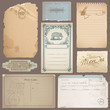 Set of Different Vintage Papers, Cards and Old Notes in vector