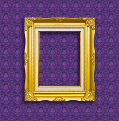 frame of golden wood  on the wallpaper