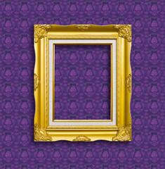 frame of golden wood  on the wallpaper