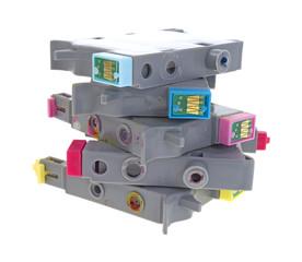 Stack of used inkjet printer cartridges