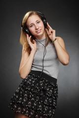 teenager girl  with headphones