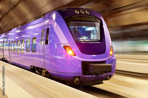 High speed train with motion blur