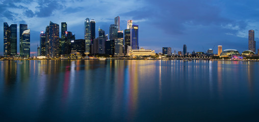 Singapore City Skyline Panorama at Twilight