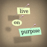 Live on Purpose Words on Bulletin Board Fulfilling Life