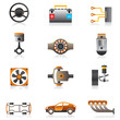 Parts of the car engine - vector illustration