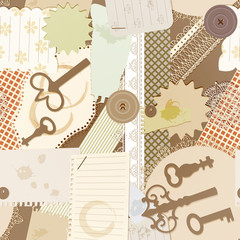 vector seamless pattern with scrapbook design elements