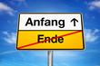 Verkehrschild Anfang Ende