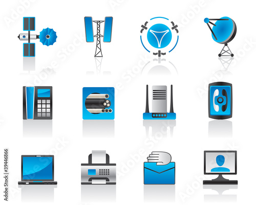 Communication and media icons - vector illustration