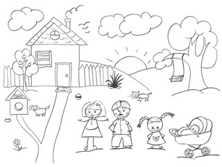 Family and House sketch