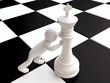 3D Man Pushing a Chess King Figure