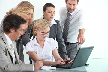 Sales team in training