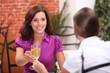 Women drinking champagne in a restaurant
