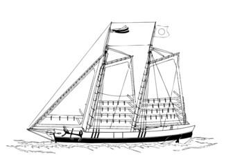 帆船-線画