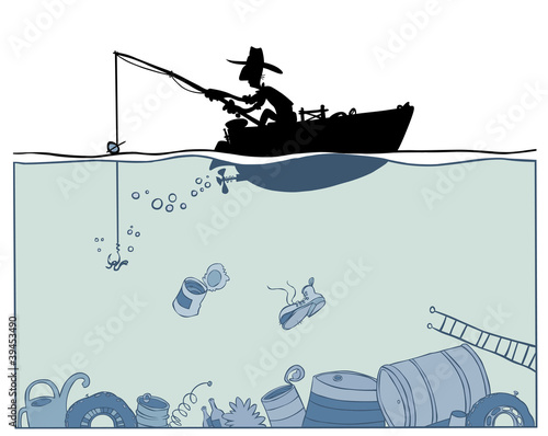 Fishing in polluted environment.
