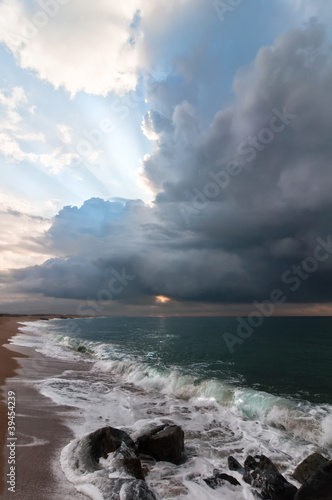 Beautiful seascape with blue sky and clouds