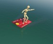 The wooden man on a credit card is floating on the water