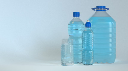 Many bottles and glass of clear water