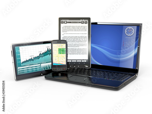 Laptop, mobile phone, tablet pc and e-book