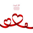 Card Red Ribbon 2 Hearts